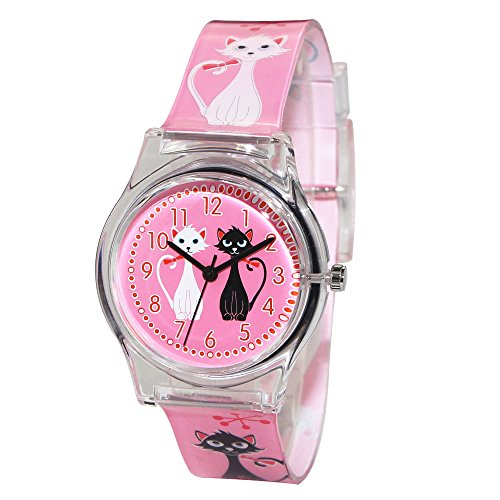 - Hansying Cartoon Cat Design Waterproof Girls Quartz Watch