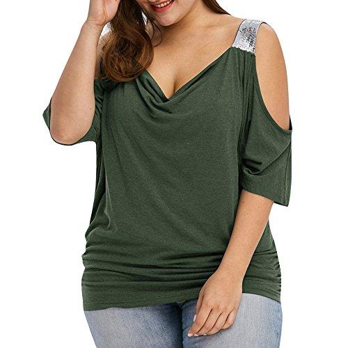 iBaste Übergröße Blusen Damen T-Shirt Oberteil Schulterfrei Damen Locker  Oberteil Tops Bluse (XL c00991e45c