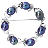 Olive Branches Freshwater Cultured Pearl brooch-(rhodium plated base metal setting) (Black)