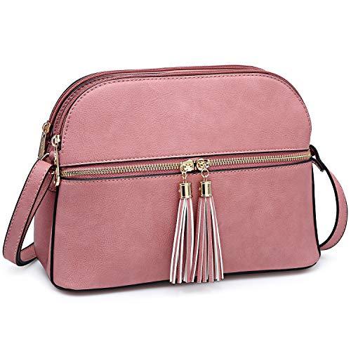 (Functional Multi Pockets Lightweight Medium Crossbody Bags Purses for Women Double Zipper Shoulder Messenger Bag with Tassel (Pink))