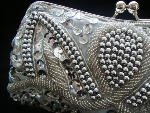 Evening Purse Clutch Beads Handbag Bridal Prom Silver Party Sequin dwXfZdxq