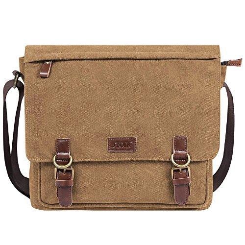 57afac27d0 S-ZONE Vintage Canvas Messenger Bag School Shoulder Bag for 13.3-15inch  Laptop Business Briefcase