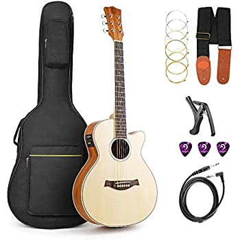 acoustic electric cutaway guitar thin body built in tuner musical instruments. Black Bedroom Furniture Sets. Home Design Ideas