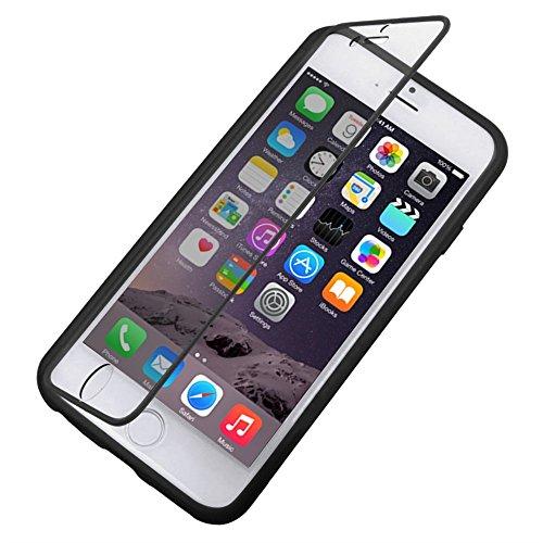 Apple iPhone 6s Plus & 6 Case Plus, Fone-Stuff® - couverture de peau de gel de silicone Full Body avec See Through Protector Wallet d'écran Flip touchables en noir