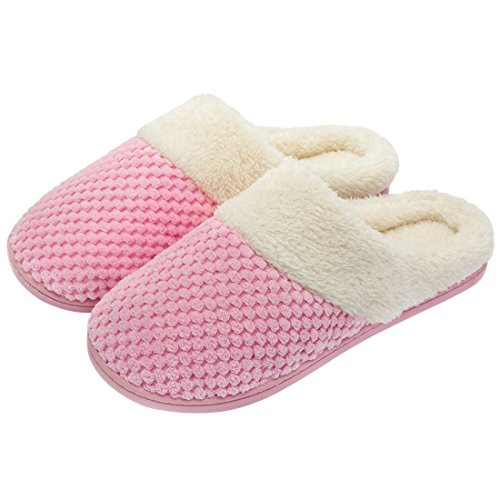 ULTRAIDEAS Women's Soft Gridding Coral Velvet Short Plush Lining Slip-on Memory Foam Clog Indoor Slippers (Small/5-6 B(M) US, Pink) - Plush Lining