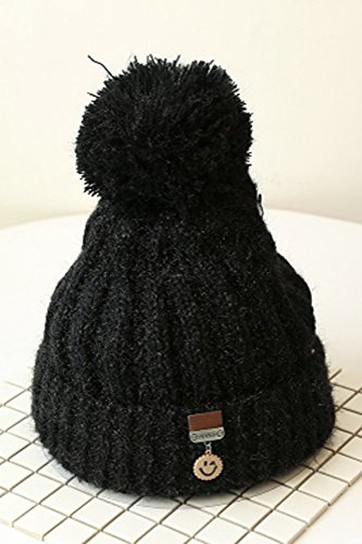 standard hair ball hanging smile dark blue wool c autumn winter plus thick velvet hair ball wool hat cap knitted smiley labeling unique ear cap influx men women