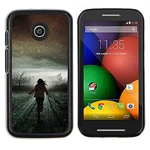 LECELL--Funda protectora / Cubierta / Piel For Motorola Moto E -- Invierno Luz Correr Significado Scary --