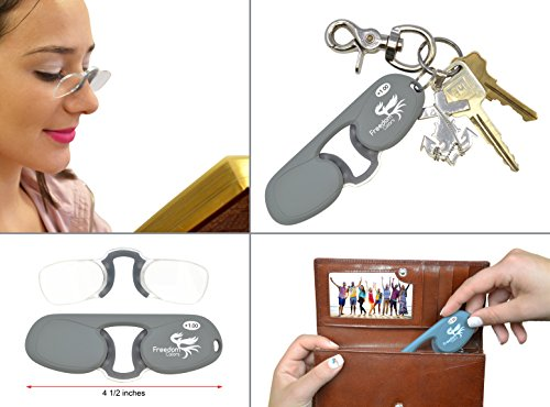 +1.50 POWER. MINI READING GLASSES   RUBBER PINCE NEZ UNISEX STYLE   ULTRA SLIM READING GLASSES. (+1.50 - Without Power Glasses
