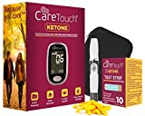 Care Touch Ketone Testing Kit - Ketone Meter w Strip Ejection, 10 Ketone Blood Test Strips, 10 Lancets, Lancing Device, Carrying Case for Diabetics and Ketogenic, Paleo, Atkins Diet