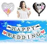 JINSELF 英国ガーランド バナー ウェデングバルーンセット 結婚式やパーティーで華やかな飾り付け 記念撮影にも インテリア 【HAPPY WEDDING】