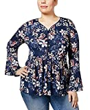 Style & Co. Womens Plus Floral Print Bell Sleeves Peasant Top Navy 3X