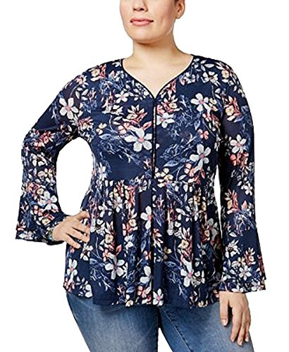 Style & Co. Womens Plus Floral Print Bell Sleeves Peasant Top Navy 3X (Co . & Style Blouse Floral)