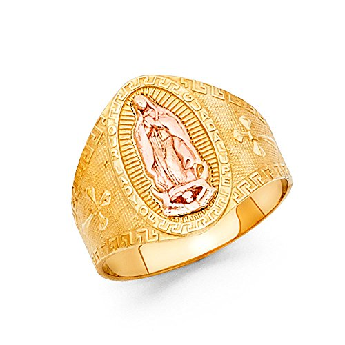 - 14k Yellow Rose Gold Big Lady Of Guadalupe Cross Band Ring Oval Diamond Cut Two Tone 15MM, Size 7.5