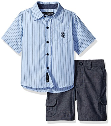 English Laundry Baby Boys Sleeve Striped Woven Shirt and Chambray Cargo Short, Multi Plaid, 24M (Shirt Woven Sleeve)