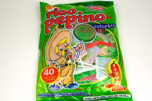 Alteno Super Pepino (Cucumber) with Chili Lollipop (40 Pieces)