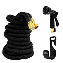 Garden Hose, HBlife Portable Flexible Expandable Water Hose with 8 Pattern Spray Nozzle, Metal Fitting Connectors, Triple Layer Latex Core & Latest Improved Extra Strength Fabric Protection, Free Hanger & Storage Bag