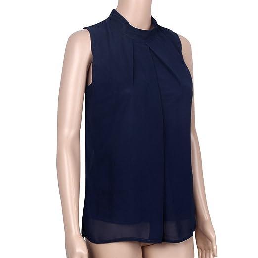 ceda1066c5c6 Ularmo Frauen Chiffonbluse Ärmelloses Shirt T-shirt Sommer Bluse Tops (M,  Blau)  Amazon.de  Bekleidung