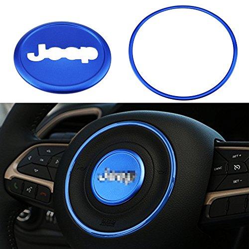 iztor 2pcs Aluminum Steering wheel decorative Cover Trims for Jeep Wrangler/Compass/Patriot 2011 2012 2013 2014 2015 2016 Jeep Grand Cherokee 2011 2012 2013 - Wheel Cherokee Jeep Steering Grand