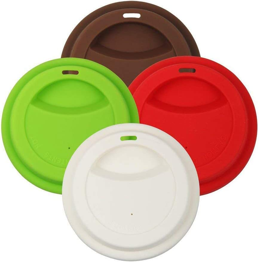 4 Pack Silicone Coffee Cup Lid Drinking Lid,Reusable and Durable Soft Silicone Drinking Lid-Red,Green,White,Brown