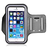 Tribe Water Resistant Sports Armband with Key Holder for iPhone 6 Plus, 6S Plus (5.5-Inch), Galaxy S6/S5, Note 4, Google Pixel Bundle with Screen Protector - Grey