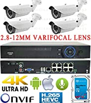 USG Business Grade H.265 4MP 4 Camera HD Security System : 5MP Ultra 4K Security NVR + 4x 4MP 2592x1520 2.8-12mm Vari-Focal Lens Bullet Cameras + 1x 4TB HDD : Apple Android Phone App
