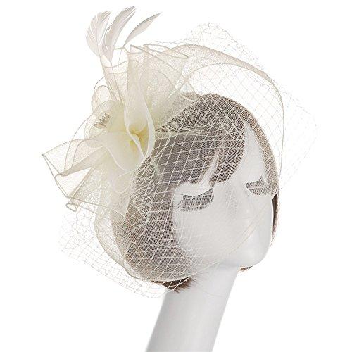 Flower Feather Mesh Feather Headdress,Starcy Women Mesh Tea Party Hat Headwear from starcy Headwear