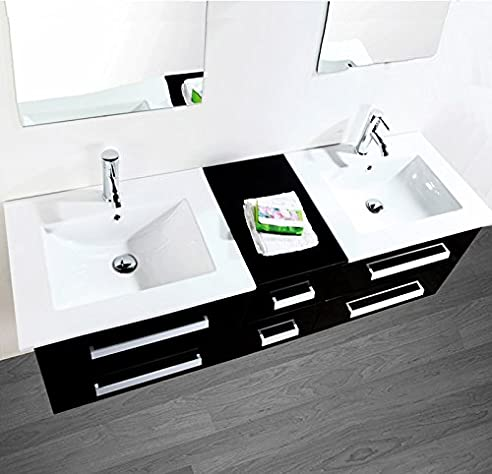 LUXUS4HOME Design Doppel Badmöbel Set U201eSerpia Dualu201c Schwarz Waschtisch Set  150cm Inkl. 2