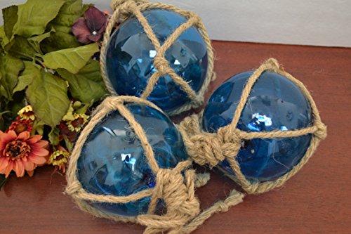 3 Pcs Light Blue Reproduction Glass Float Fishing Buoy Ball 5