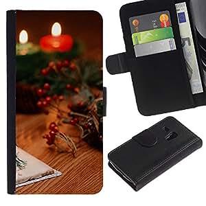 UNIQCASE - Samsung Galaxy S3 MINI NOT REGULAR! I8190 I8190N - Christmas Candles & Cards - Cuero PU Delgado caso cubierta Shell Armor Funda Case Cover