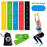 UMODE Non-Slip Resistance Loop Bands with Exercise Guide Printed on Mini Workout Bands to Tone Legs Butt Core and Arms Pilates Yoga Fitness Physical Therapy Rehabilitation