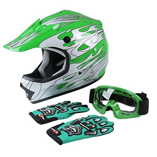 (XFMT Youth Kids Motocross Offroad Street Dirt Bike Helmet Goggles Gloves Atv Mx Helmet Green Flame XL)
