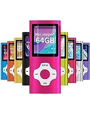 Mymahdi MP3/MP4 beweegbare speler, roze met 1,8 inch LCD-scherm en geheugeninbouwgleuf, maximale ondersteuning 128 GB geheugenkaart