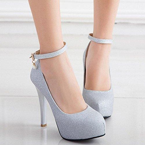 Buckle Pumps TAOFFEN Women Heel Straps Cone Platform Western Silver Heel High Shoes FCOCUIwqnz