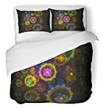Emvency 3 Piece Duvet Cover Set Breathable Brushed Microfiber Fabric Aliens Abstract Artistic Conceptual Fantasy Digital Colors Colourful Dreaming Fancy Bedding with 2 Pillow Covers Full/Queen Size