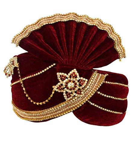 INMONARCH Mens significance Groom Turban Pagari Safa Groom Hats TU1096 22-Inch Red by INMONARCH