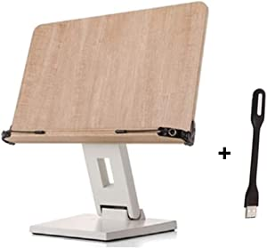 EYELEVEL Wooden Book Stand Reading Rest Bookrest Cookbook Laptop Holder for Textbook Music Score Desk Laptop Height Adjustable 270° Angle Adjustable with withmolly USB led Book Light