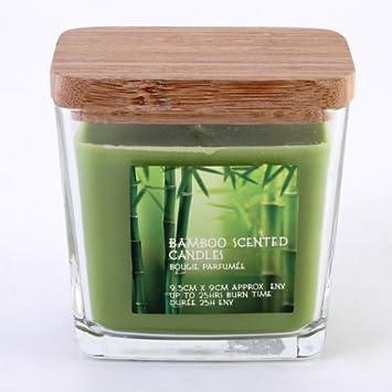 Amazon De Bambus Duftkerze Im Glas Mit Bambus Deckel 25 Stunden