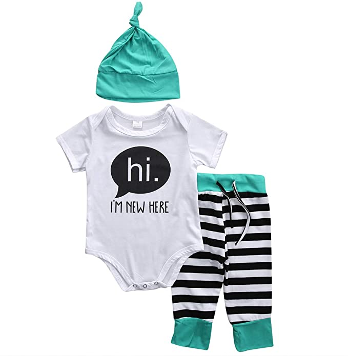 Amazon.com: Unisex bebé niños Romper hi. Im New HERE Tops ...