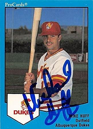 Mike Huff Autographed Baseball Card Albuquerque Dukes 1989