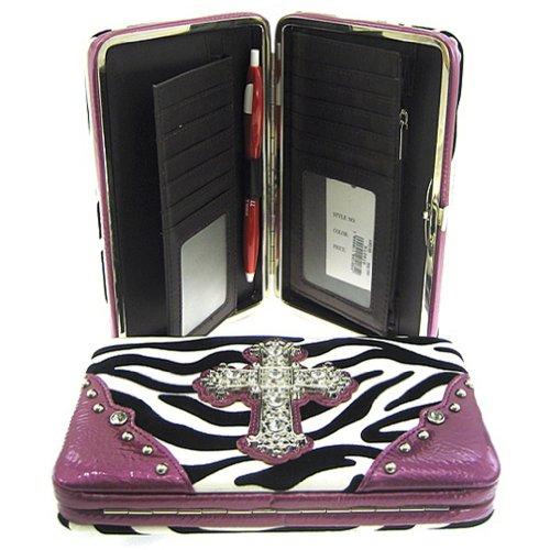 Gorgeous! Soft Zebra Rhinestone Cross Flat Wallet Clutch Purse (purple) (Zebra Wallet Clutch)