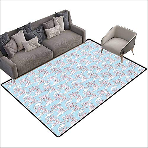 (Polyester Non-Slip Doormat Rugs Colorful Cherry Blossom,Pattern with Sakura and Clouds Hand Drawn Style Spring Blossom Tree,Pink Cocoa Sky Blue 48