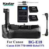 Kastar Pro Multi-Power Vertical Battery Grip + 2x LP-E17 Replacement Batteries + LCD Dual USB Charger Kit for Canon EOS 77D, EOS 800D, Rebel T7i, Kiss X9i Digital SLR Cameras