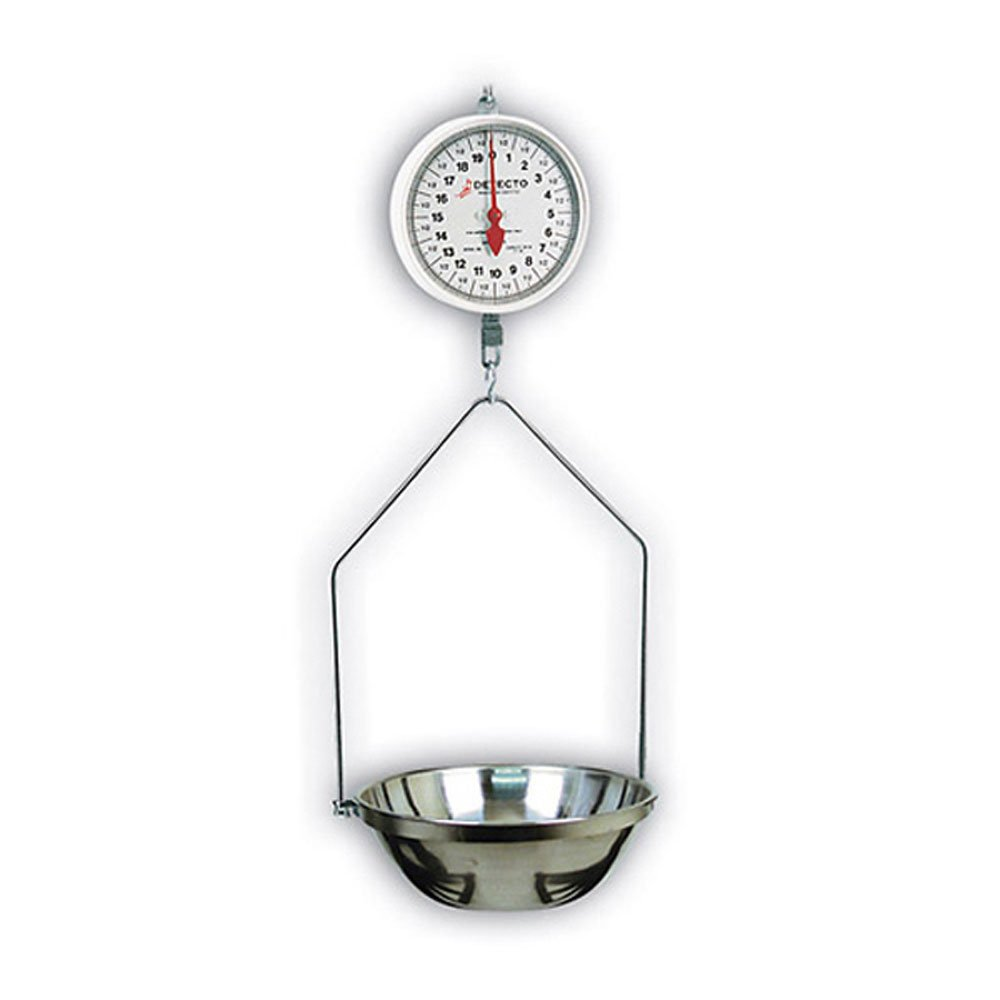 Detecto MCS-40F Hanging Dial Scale, 40 lb. Capacity, Fish Pan, Stainless Steel by Detecto