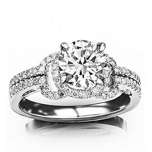 Ring Set Diamond Engagment - 14K White Gold 1.32 CTW Round Cut Halo Style Love Knot Pave Set Round Round Diamond Engagment Ring, J Color SI1-SI2 Clarity, 0.85 Ct Center