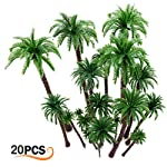 Hatisan 20Pcs Coconut Palm Model Trees/Scenery Model Plastic Artificial Layout Rainforest Diorama, Building Model Trees Cake Topper, Model Train Railways Architecture Landscape by Hatisan