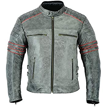 L MENS MOTORCYCLE ARMOURED MOTOR SPORTS HIGH PROTECTION MOTORCYCLE DISTRESSED LEATHER JACKET DC-4088