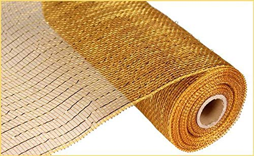 (10 inch x 30 feet Deco Poly Mesh Ribbon - Gold/Brown with Metallic Gold)