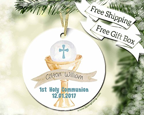 First Communion Gift for Boy, 1st Holy Communion Gift for Boy - Handmade Personalized Ornaments