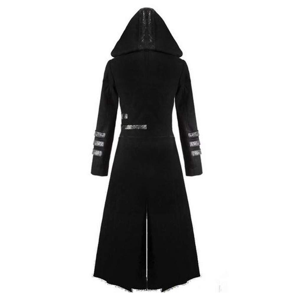 Amazon.com: Inverlee Mens Gothic Steampunk Hooded Trench ...