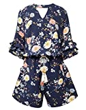 Smukke, Big Girls Tiered Ruffle Elbow Sleeve Romper, 7-16 (Navy Multi, 14)